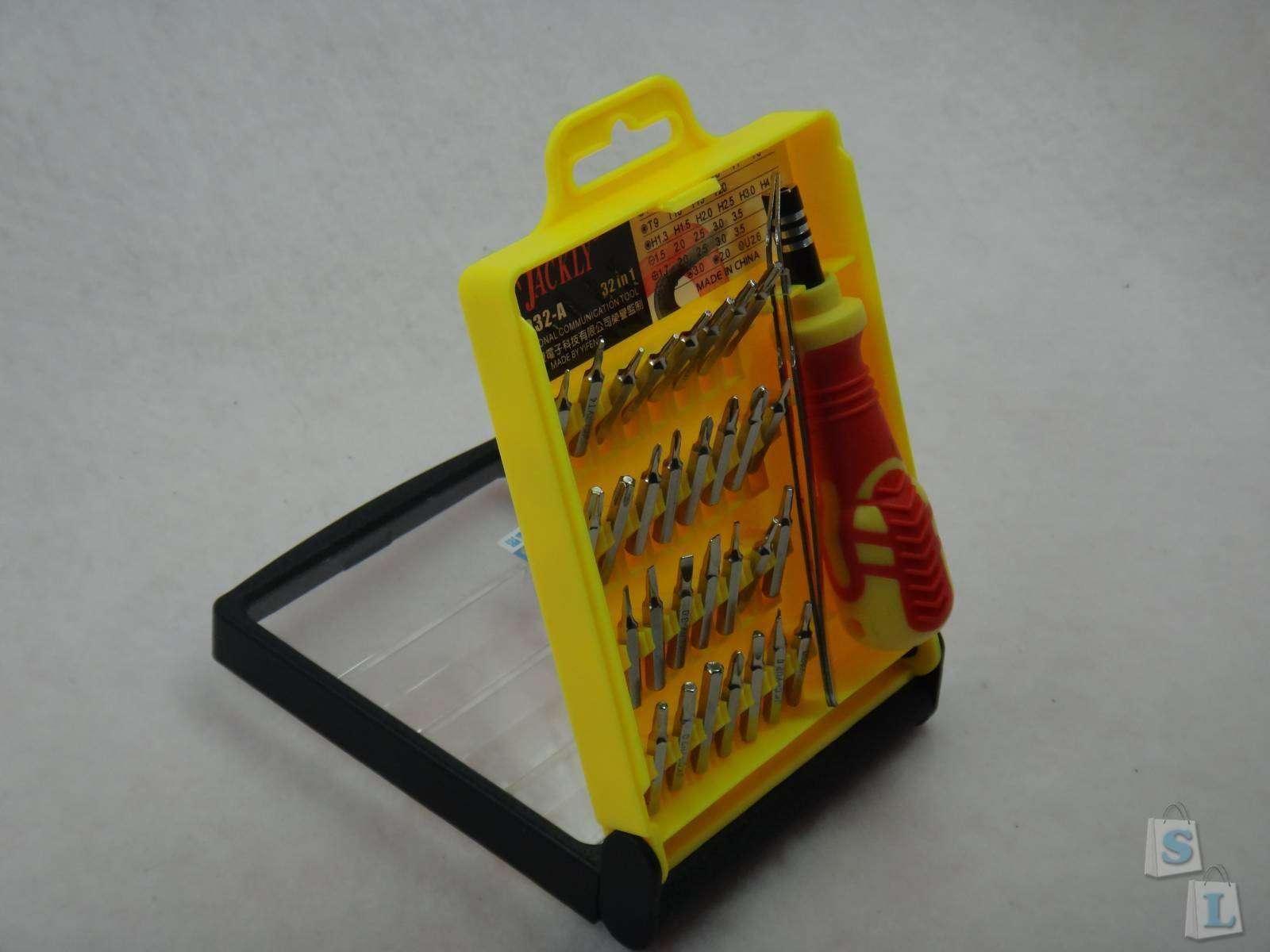DD4: Набор Jackly JK 6032A для ремонта из 32 бит, пинцета и удобной отвертки в качественном кейсе.