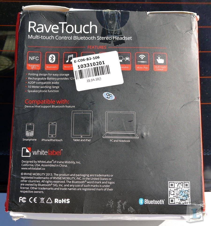 GearBest: Bluetooth гарнитура BSH 560 (whitelabel ravetouch) c сенсорным управлением и nfc