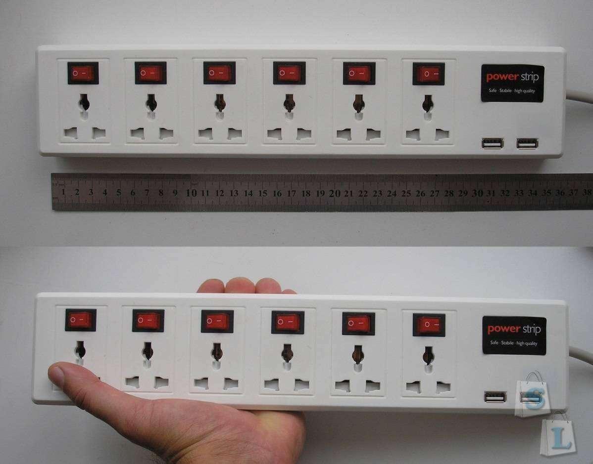 TomTop: Универсальный удлинитель с двумя USB портами