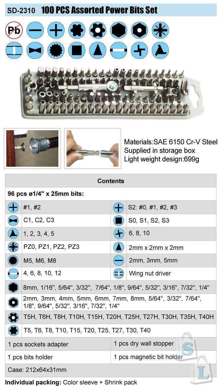 TomTop: Набор бит с приспособами от Pro'sKit (SD-2310 100-piece)