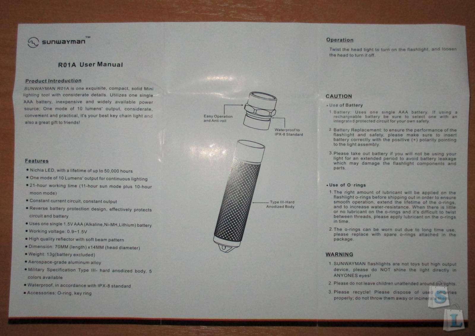 Другие - США: Фонарь-наключник Sunwayman R01A