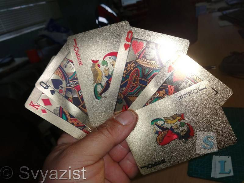 Banggood: Позолоченная колода из 52 игральных карт + 2 джокера.