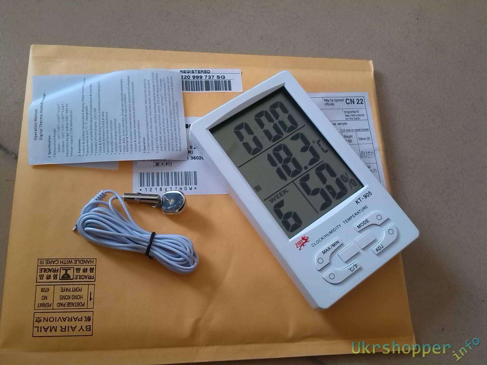 Aliexpress: 4.3' Digital LCD Humidity / Hygrometer and Thermometer with Extra Sensor Cable (1*AAA included)