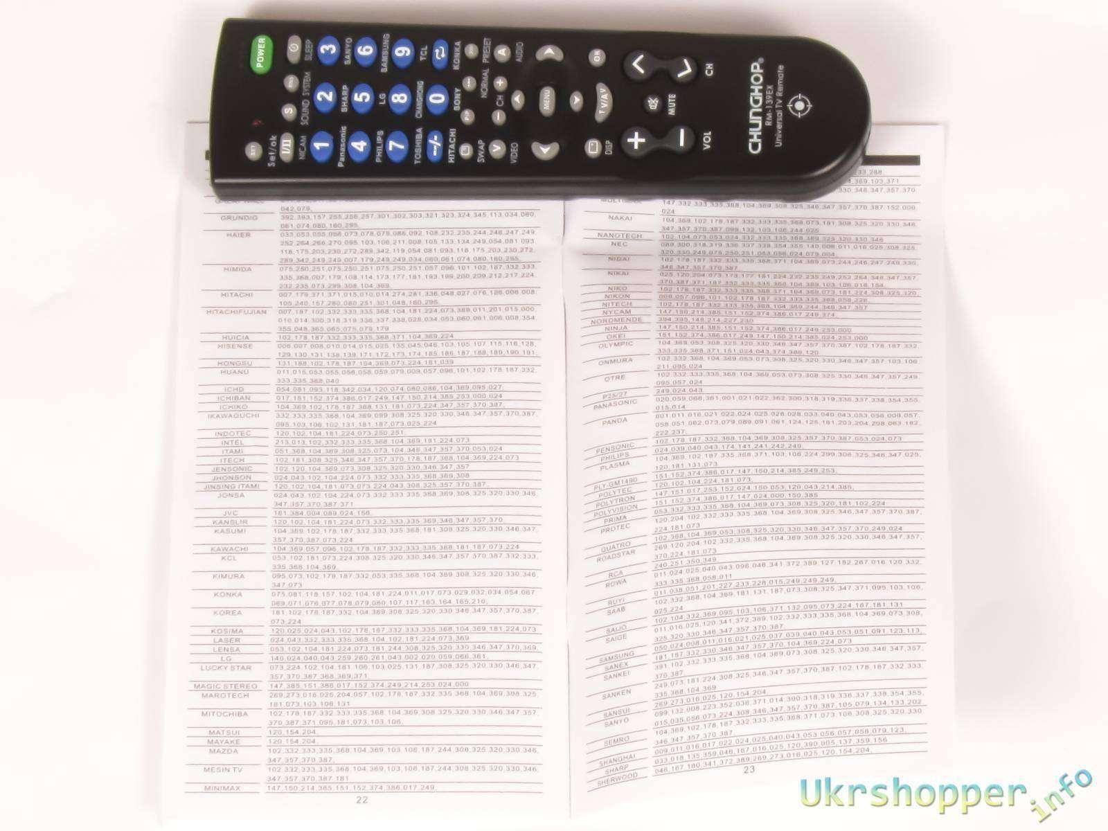 Коды к пульту chunghop rm-159e