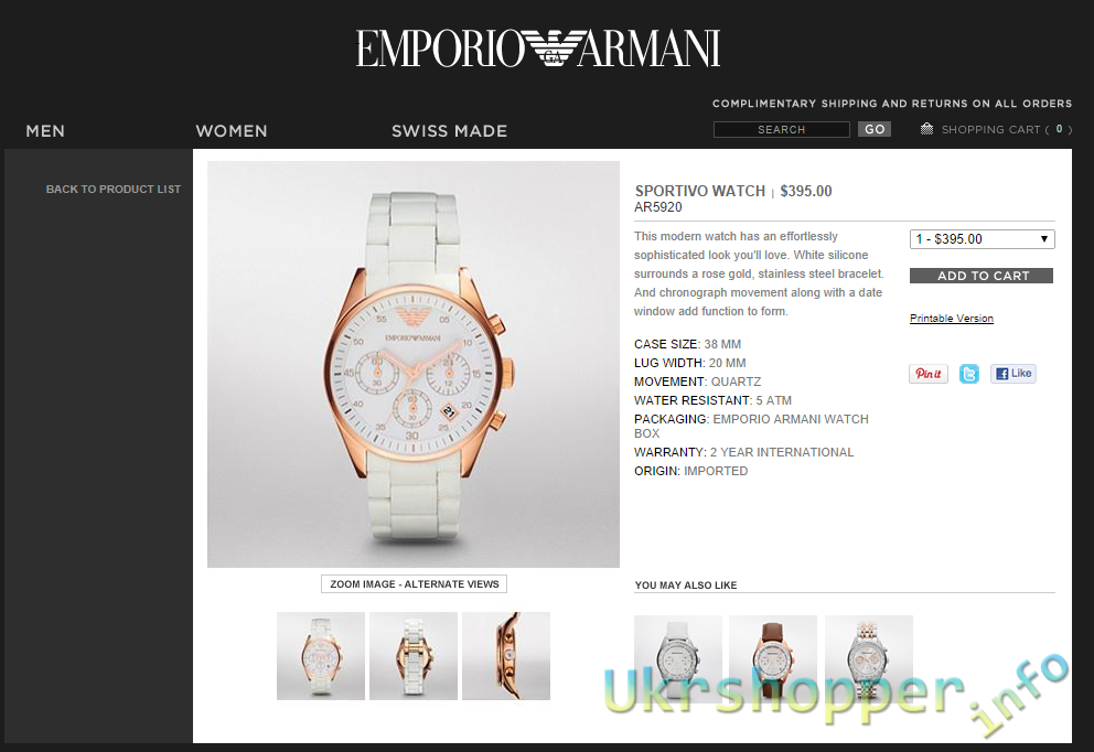 Popkind: Обзор реплики женских часов Emporio Armani SPORTIVO WATCH AR5920