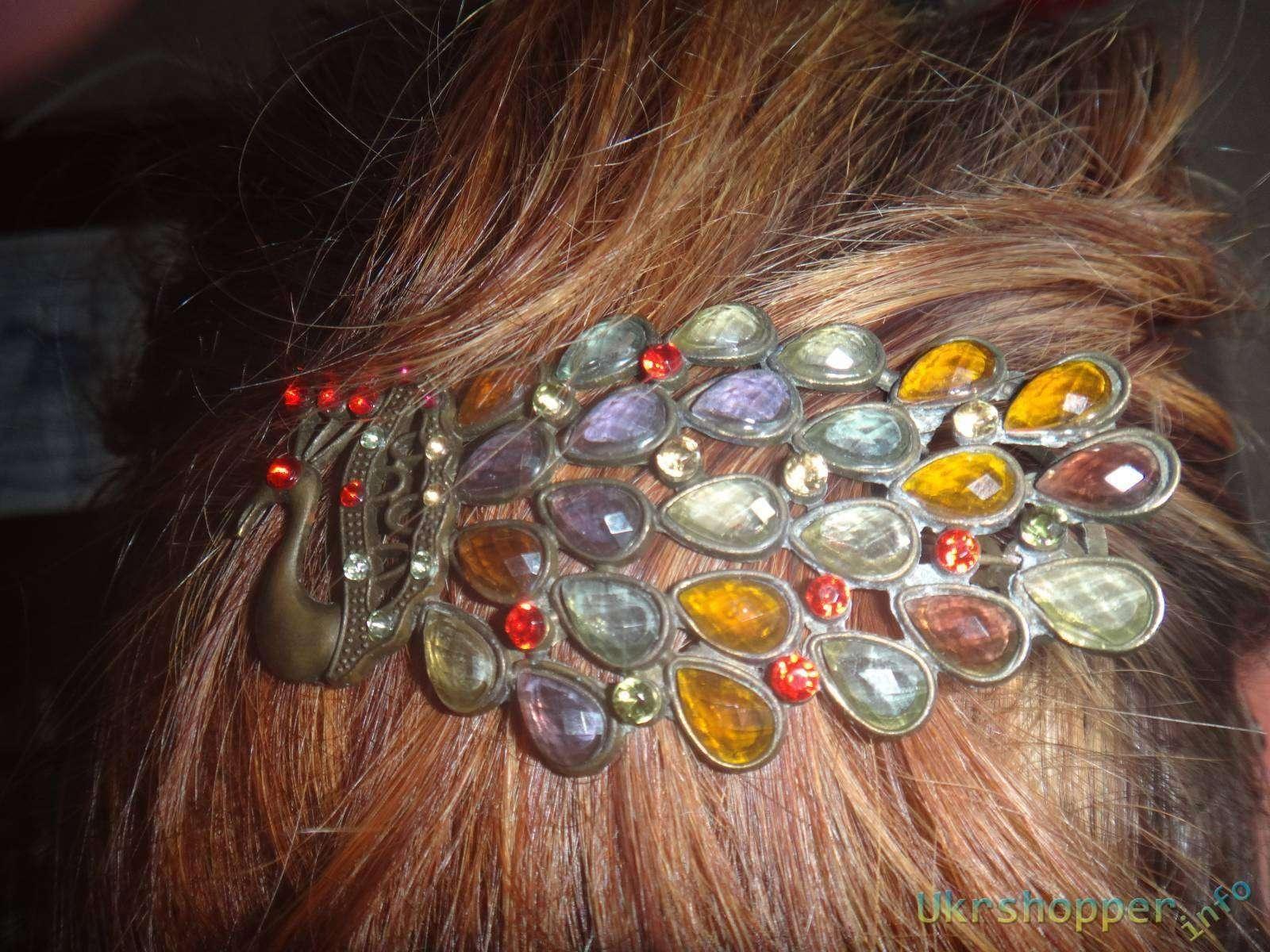 Ebay: Обзор заколки на короткие и средние волосы в форме павлина