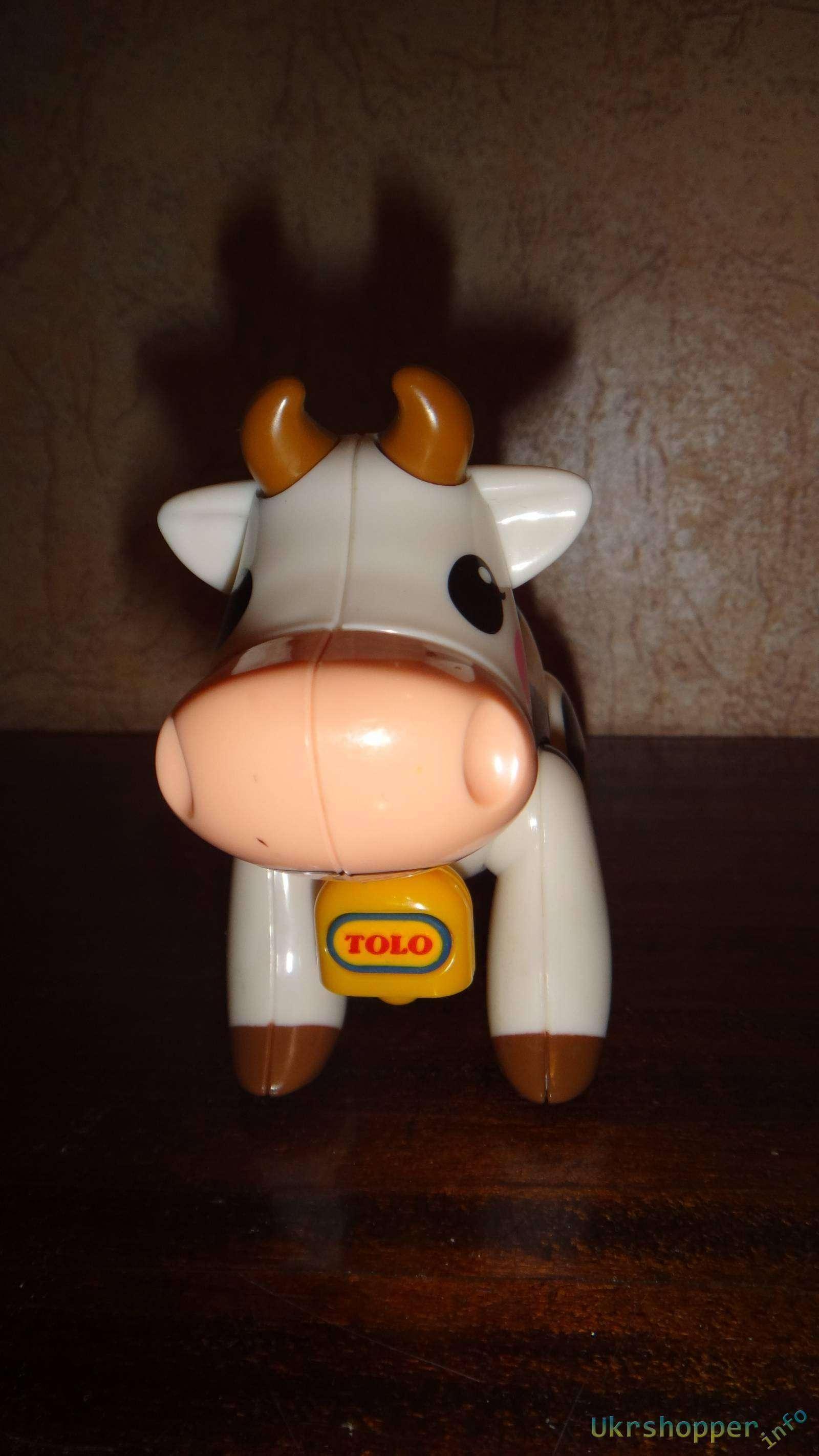 Amazon: Обзор игрушек-трескучек фирмы Tolo коровки и свиньи из серии 'Первые друзья'