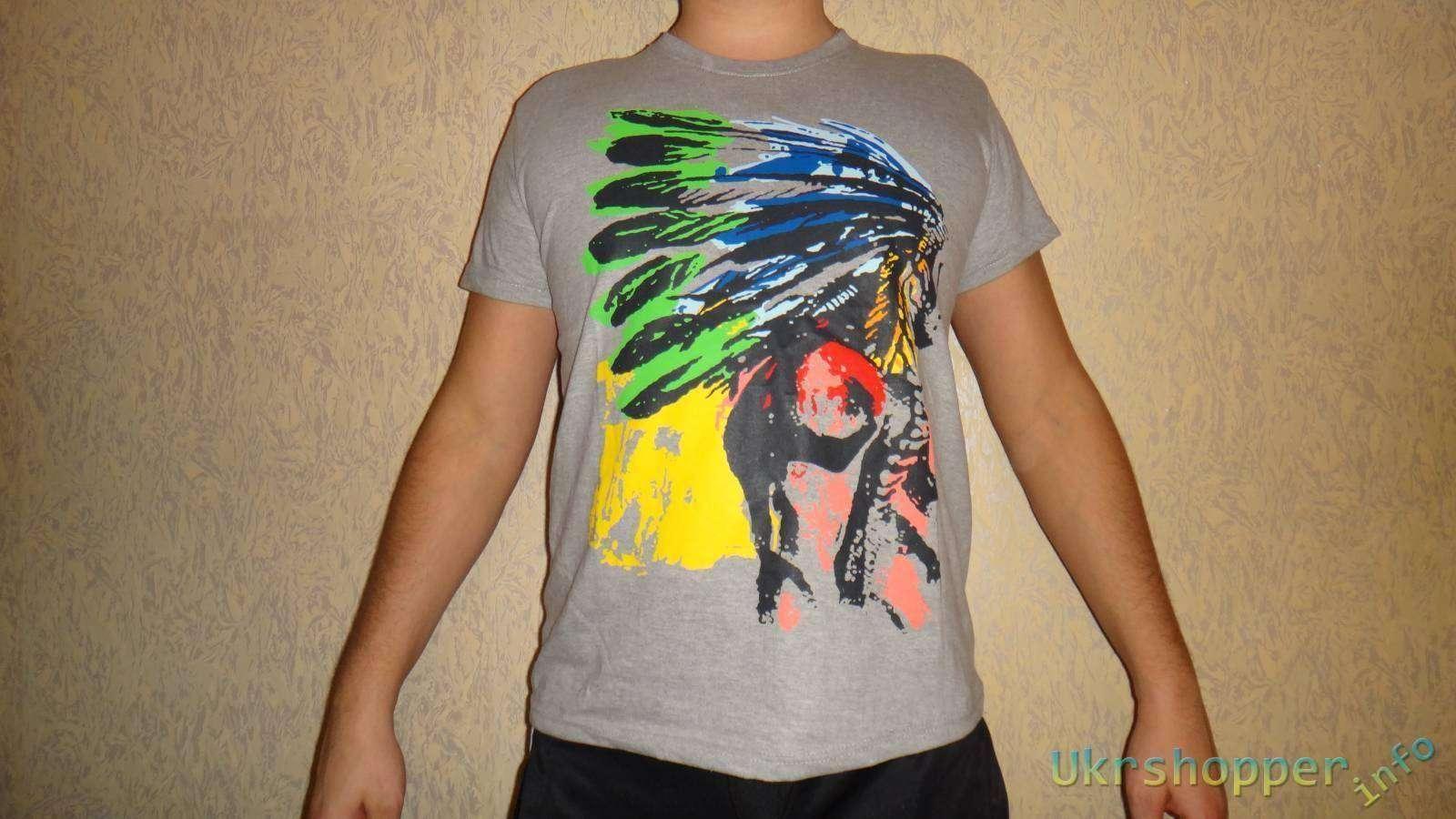 TinyDeal: Обзор мужской х\б футболки с изображением индейца