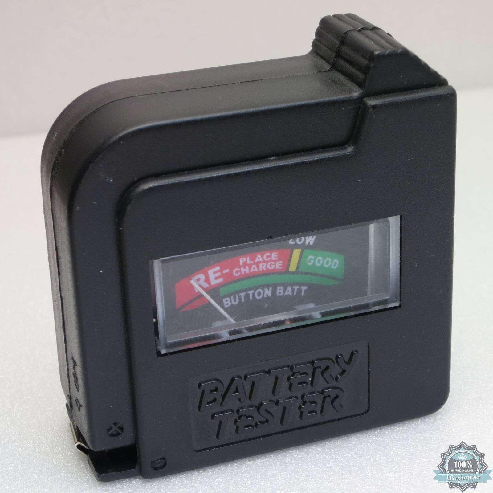 BuyinCoins: Тестер для батареек и аккумуляторов размера AA, AAA, C, D с напряжением 1.2-1.5В и 9В типа 'Крона'.