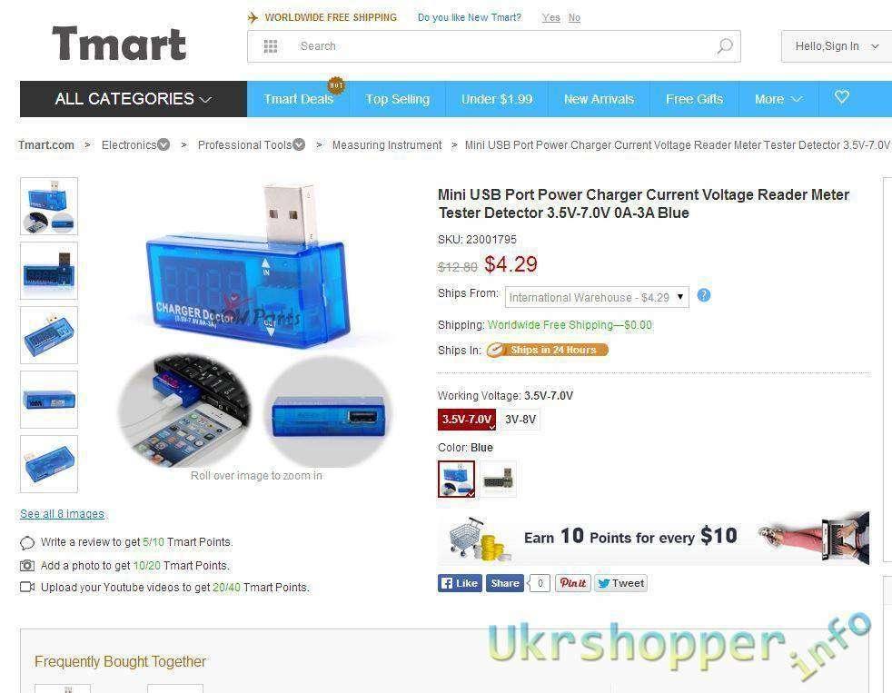 Tmart: Вольтметр/Амперметр для USB за .99