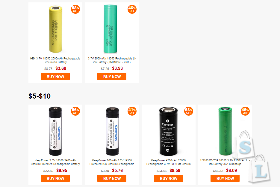 GearBest: Большая распродажа 18650х аккумуляторов
