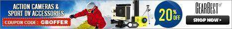 GearBest: Купон на экшен камеры аксессуары скидка 20% успей купить