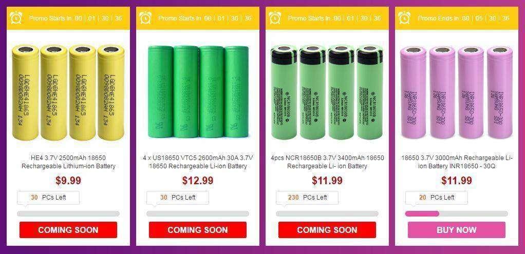GearBest: Распродажа аккумуляторов, фонариков, зарядных и многое другое с 15:00 МСК