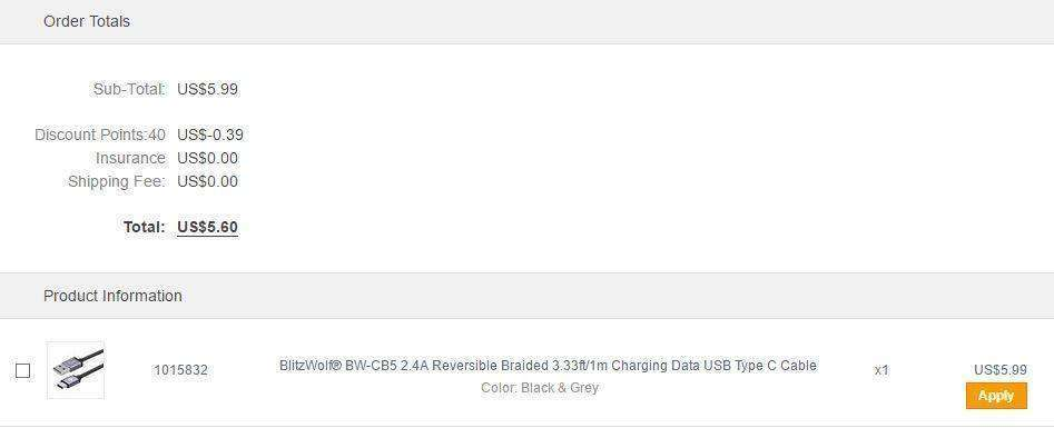 Banggood: Кабель BlitzWolf USB - USB Type C