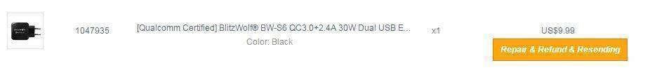 Banggood: Зарядка с Quick Charge 3.0 - BlitzWolf® BW-S6