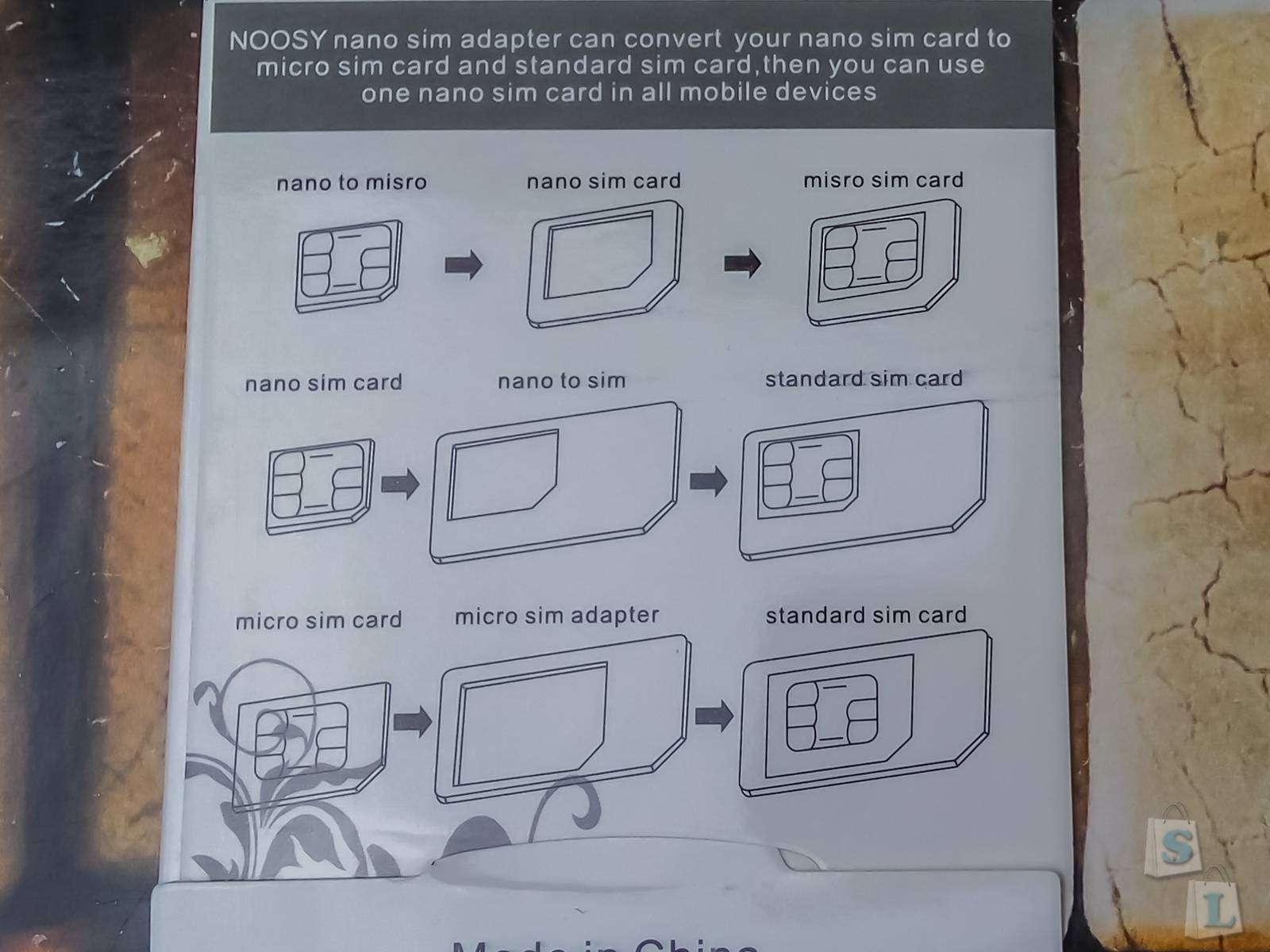 Aliexpress: Набор переходников для nano и micro Sim карт Noosy 4 в 1