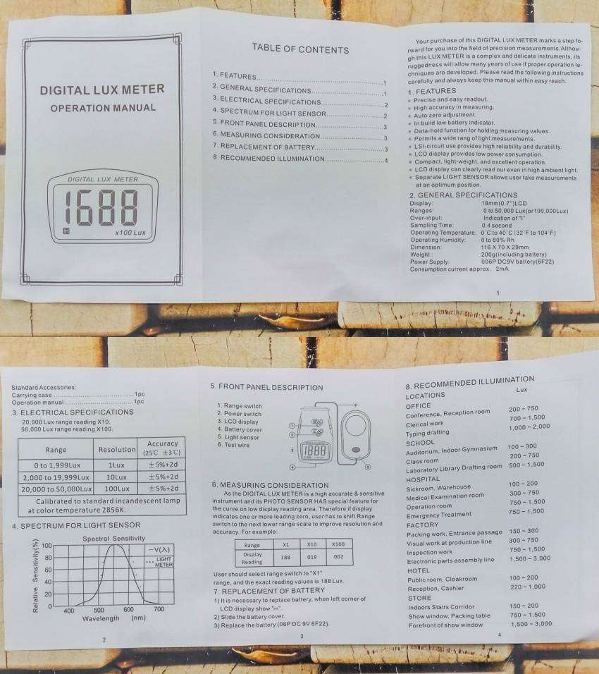 GearBest: Люксметр HongYan LX1010BS, обзор, применение в быту