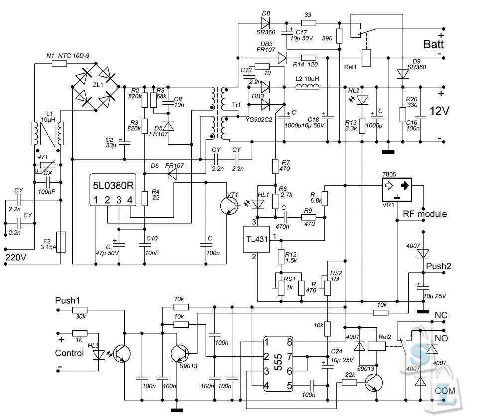 схема цепи контроля напряжения на аккумуляторе