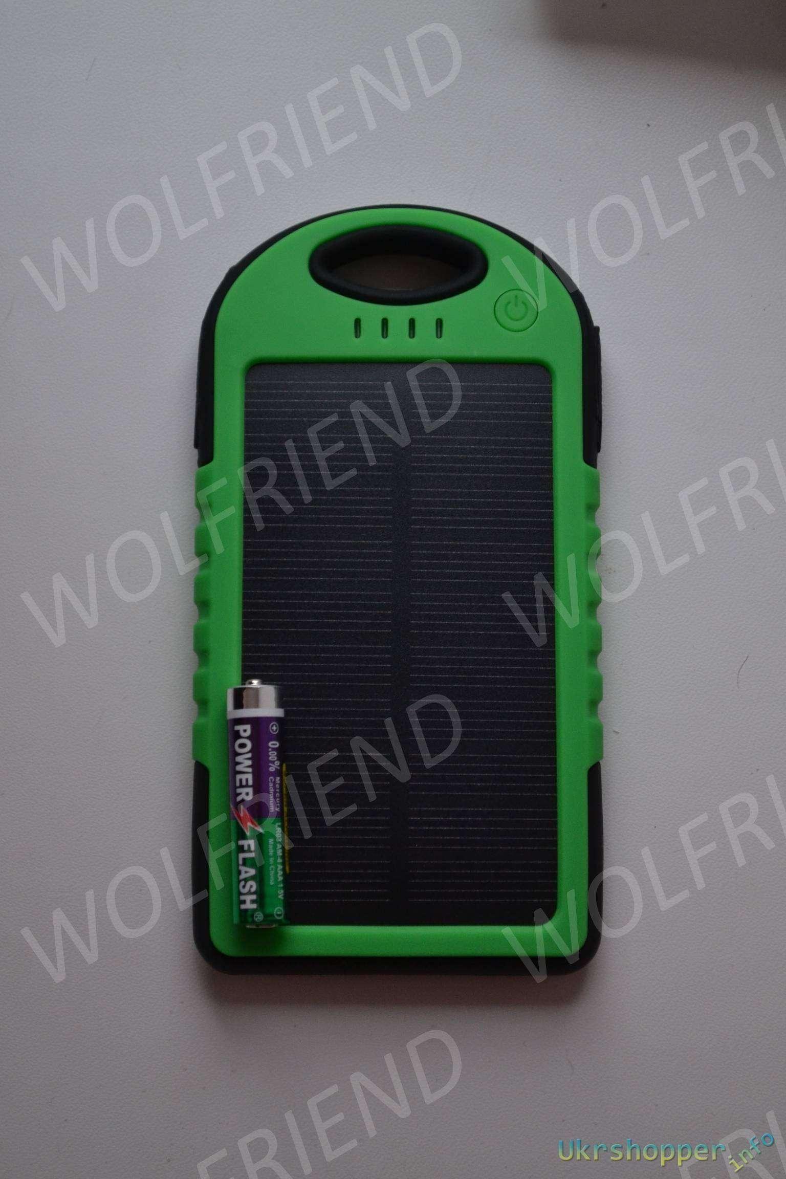 Banggood: 5000mAh Waterproof Shockproof Solar Panel Power Bank - Повербанк