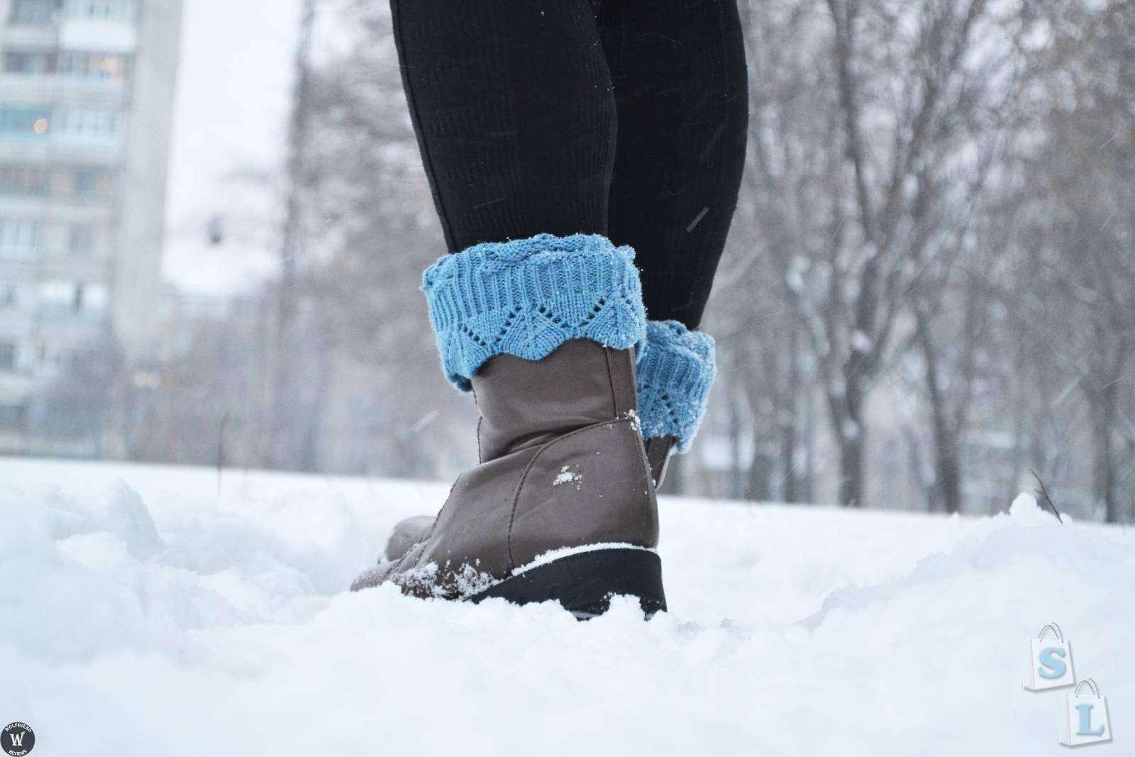 ChinaBuye: Манжеты на ножки под короткие сапожки (две разные пары: коричневые и голубые)