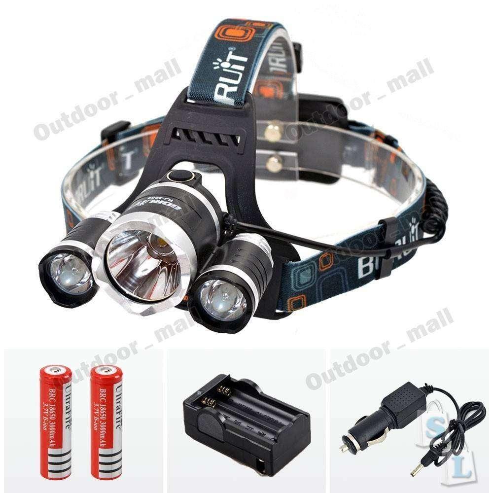 DD4: Налобный фонарь Boruit 3CREE XM-L T6 + 2R5, 18650 + AC / Автомобильное зарядное