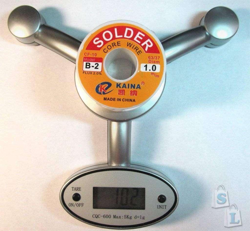 Banggood: Припой для пайки с флюсом Ø1мм, 100 гр, Тпл 183°С
