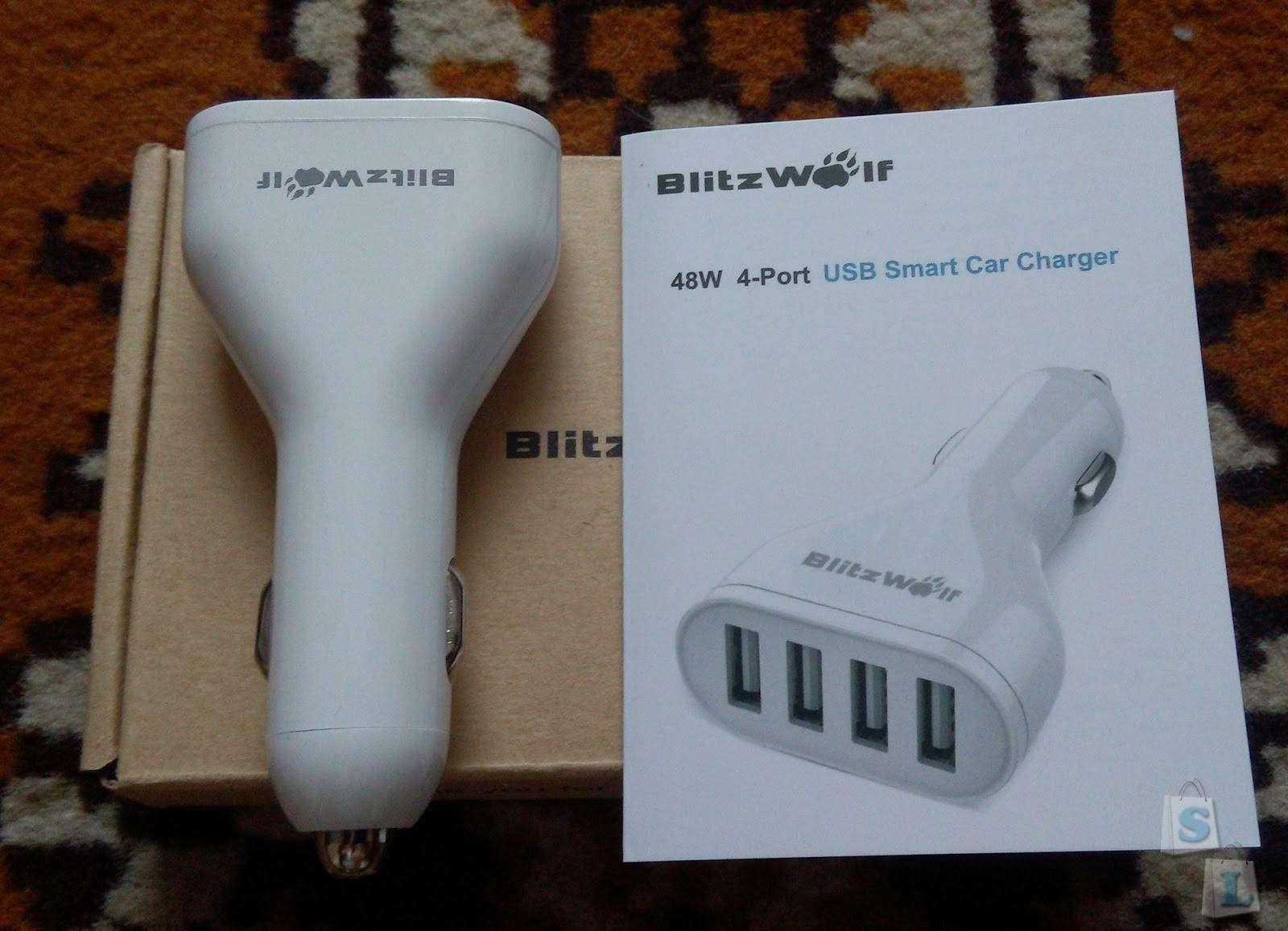 Banggood: BlitzWolf 4-портовое USB автомобильное зарядное устройство