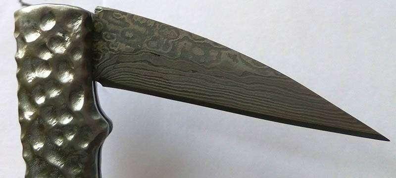 Другие - Китай: Складной нож из дамаска