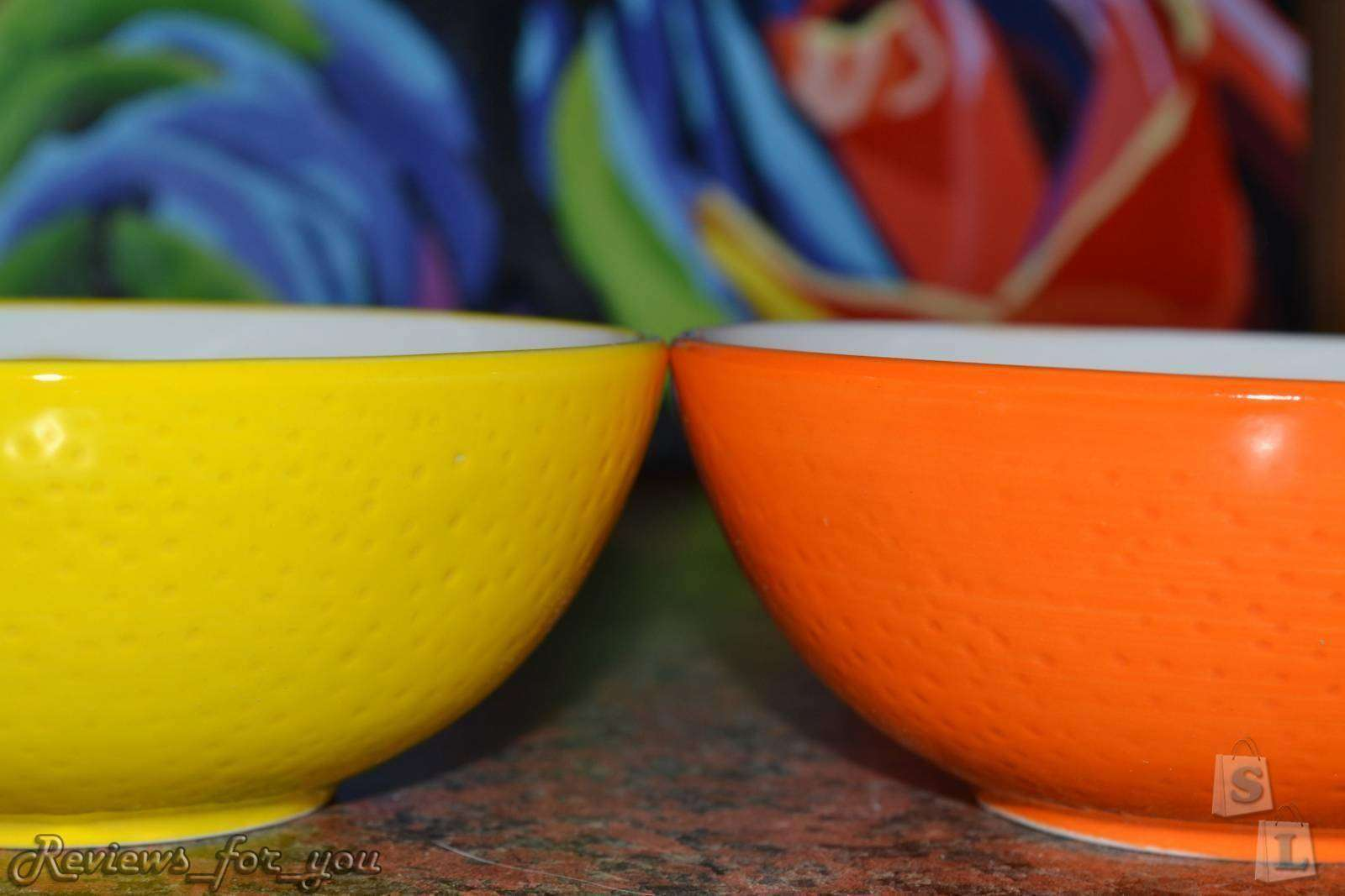 ChinaBuye: Керамический набор из яркой чаши/пиалы и ложки
