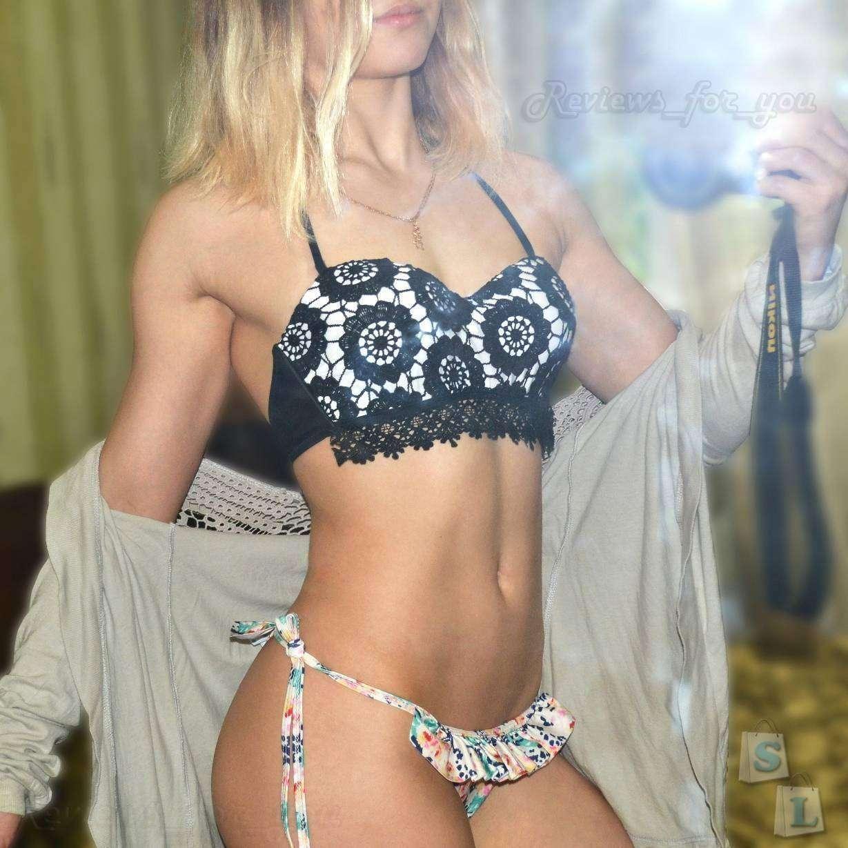 Aliexpress: Кружевной купальник бикини. Милейшие плавочки с рюшами!