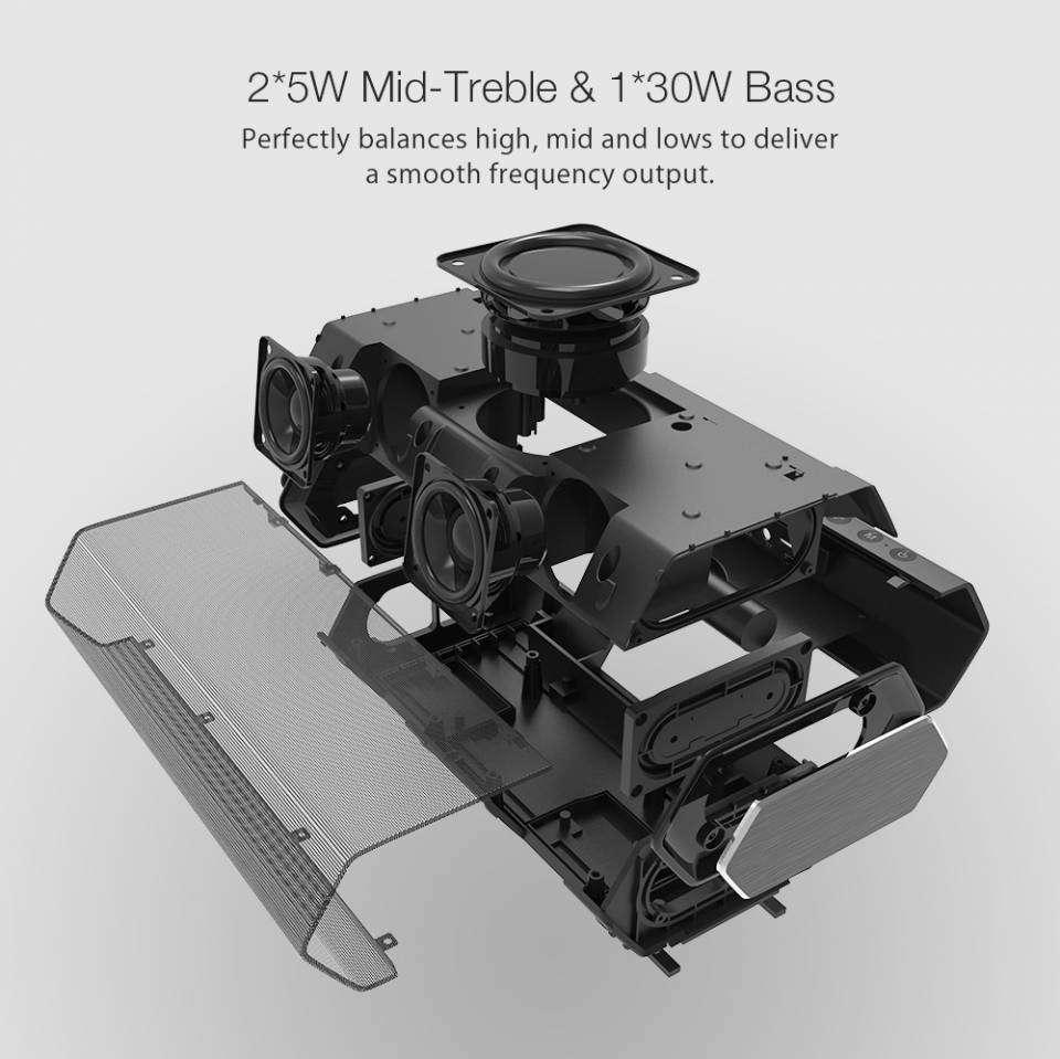Banggood: BlitzWolf BW-AS2: басовитая беспроводная колонка с пятью излучателями (три активных и двапассивных)