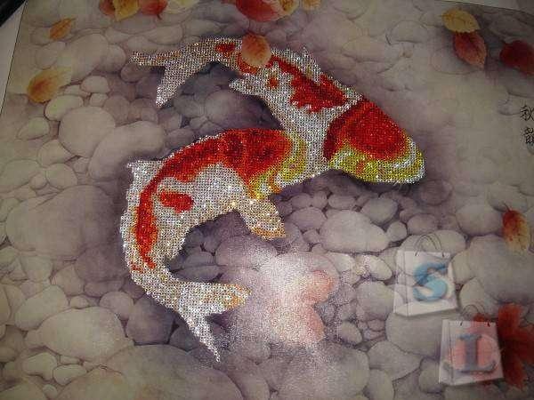 TaoBao: 'Осень... рыбы...' - Алмазная вышивка 65х75см (полностью заполненная)