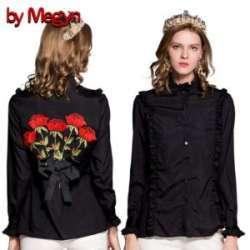 Женская рубашка с цветочной вышивкой с Али