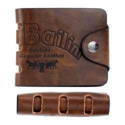 Кожаный мужской бумажник (кошелек - двойная книжка с молнией) - год использования