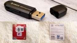 Быстрый кардридер Orico CRS21 с интерфейсом USB 3.0 для быстрой microSD-карты Eaget T1 256 ГБ