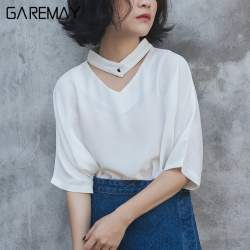 Блузка с короткими рукавами / блузка молочного цвета