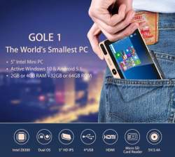 Мини ПК GOLE1 на Intel Z8300 с дисплеем 5', 4GB+64GB, Windows 10/Android 5