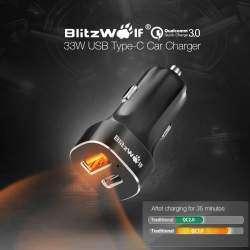 Автомобильное зарядное устройство BlitzWolf BW-C8 с QC 3.0 33W + кабель USB