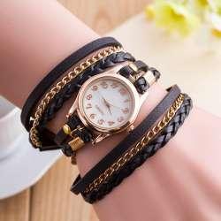 Женские кварцевые часы с кожаным ремешком