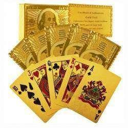 Позолоченная колода из 52 игральных карт + 2 джокера.