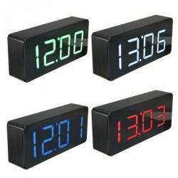 LED часы будильник с деревянной текстурой и крупными цифрами