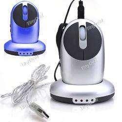 Радио-мышь с базой-хабом на 3 порта и встроенным зарядником для аккумуляторов