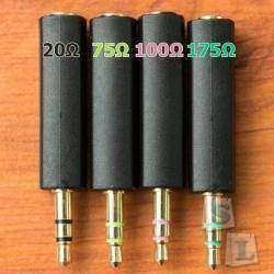 Аудио адаптеры 3,5 мм с добавочным сопротивлением (20, 75, 100, 175 Ω) для наушников. Обзор, измерения, личные впечатления
