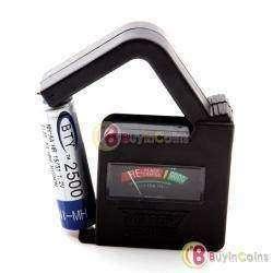 Тестер для батареек и аккумуляторов размера AA, AAA, C, D с напряжением 1.2-1.5В и 9В типа 'Крона'.