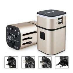 Универсальный международный адаптер + блок питания на 2 USB