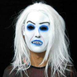 Маска на Хэллоуин Scary White Long Hair Hag Shape Masquerade Party Halloween Mask