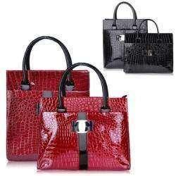 Красная женская сумка «под крокодила»