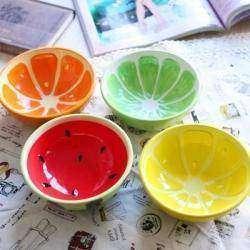 Керамический набор из яркой чаши/пиалы и ложки