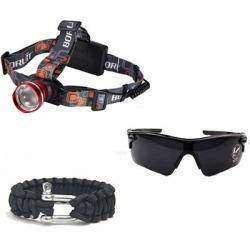 Налобный фонарик Boruit, спортивные очки и браслет