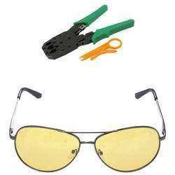 Клещи для обжима витой пары и очки для вождения